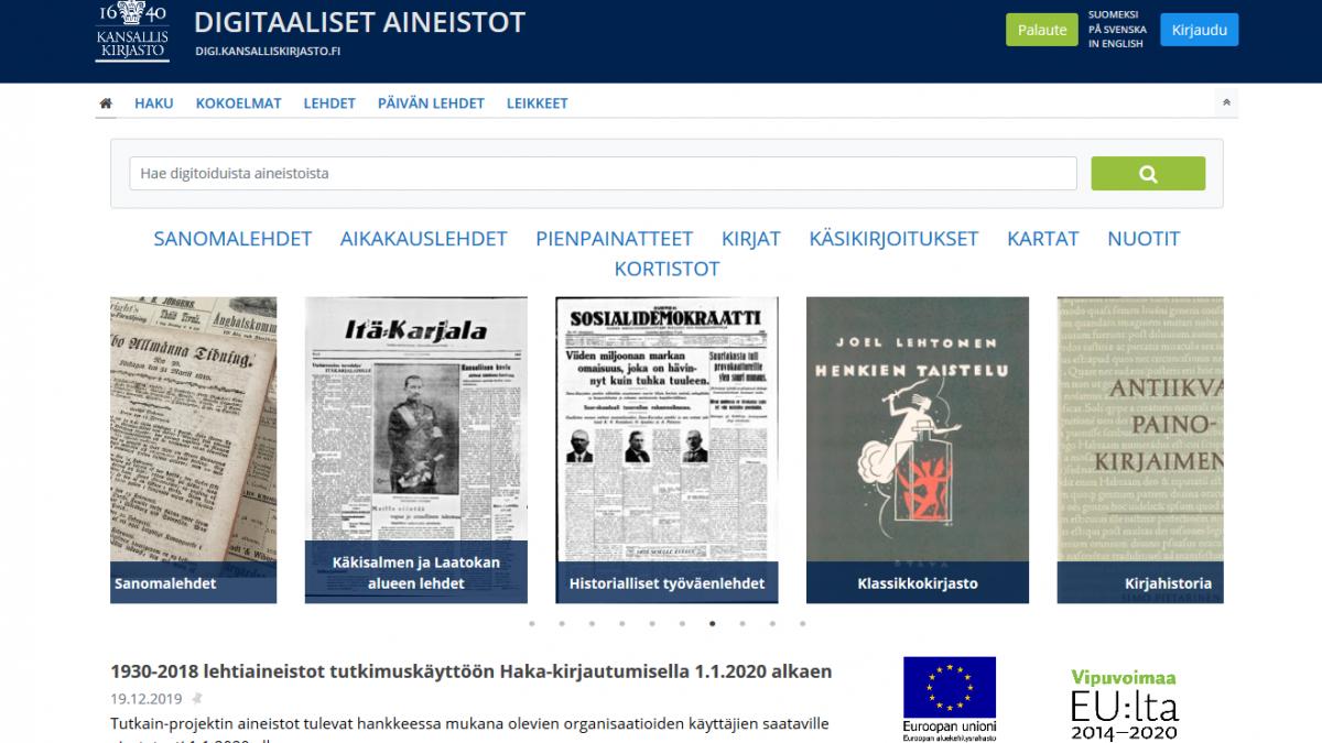 Ruutukaappaus digi.kansalliskirjasto.fi-palvelusta.