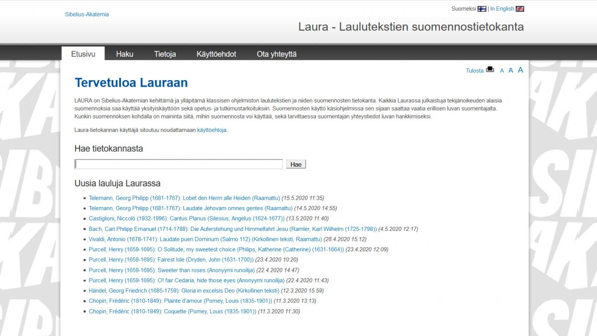 Screenshot of the database interface.