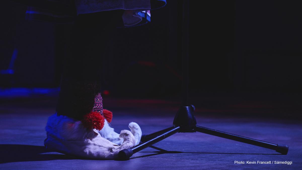 traditional Sami footwear and microphone rack.