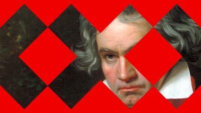 Beethovenin muotokuva ja Taideyliopiston logoja.