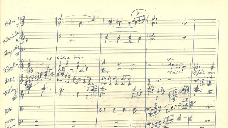 A close-up of sheet music manuscript.