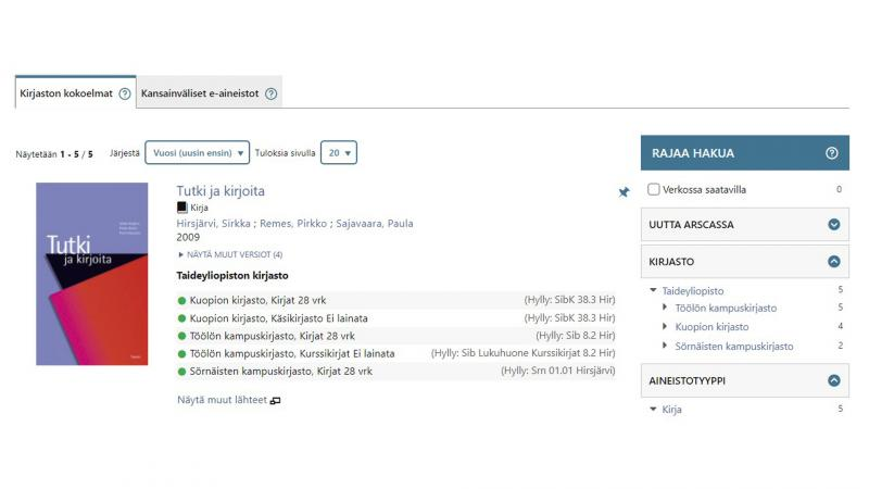 Screenshot Arsca-näkymästä.