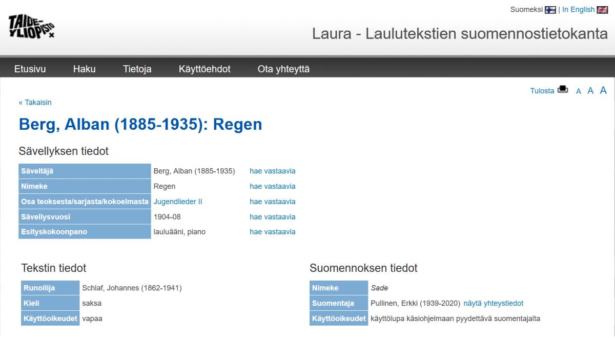 Kuvakaappaus Laura-tietokannasta.